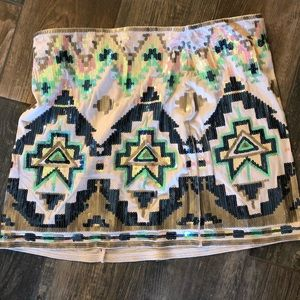Express tribal sequin mini skirt